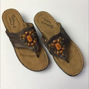 Natural Soul Brown Beaded Wedge Stance Sandals